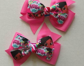 Nella the Princess Knight (inspired) hair bow, cartoon bows, princess hair bow, pink hair bows, back to school hair bow, Princess Nella