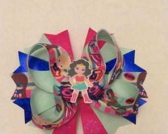 "Girl Super Heroes hair bow, pink hair bow, big hair bow, super girls hair bow, Wonder girl hair bow, 5"" hair bow"