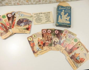 The Famous Five Card Game, Vintage Playing Cards, Pack of Cards, Enid Blyton, 1940s