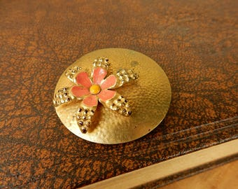 Floral Brooch, Disc Pin Badge, 1950's Vintage Scarf Pin
