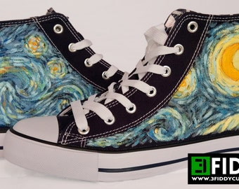 """Unique  """"The Starry Night"""" Design inspired by Van Gogh - Made to Order  -  Hand Painted Sneakers Trainers from 3Fiddy!"""