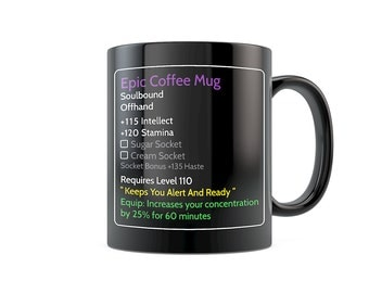 MMO Mug MMO Coffee Mugs, Gaming Mugs, World of Warcraft Mugs - Epic Coffee WoW Mug - Updated to Level 110 - 11oz 15oz