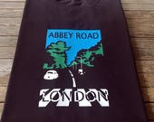 Beatles inspired Abbey Road T Shirt London Vintage Art Deco Travel Poster Style