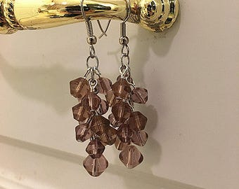 Purple Brown Cluster Earrings