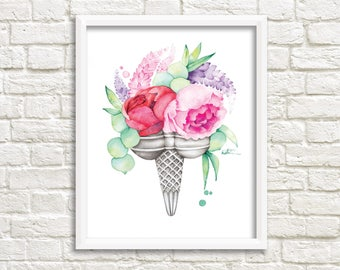 Poster 8 x 10 ice cream double peonies / flowers Illustration / drawing watercolor print / picture frame / Katrinn Illustration