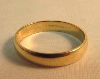 """14K Solid Gold """"Art Carved"""" Wedding Band Ring - Size 9.5 - #R180"""