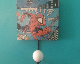 Upcycled Comic Book Spiderman Wall Hook