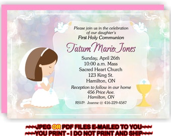 First Holy Communion, Invitation, Girl 1st Communion, Communion Invite, Girl, 1st Communion Invite -  FIRSTCOMG