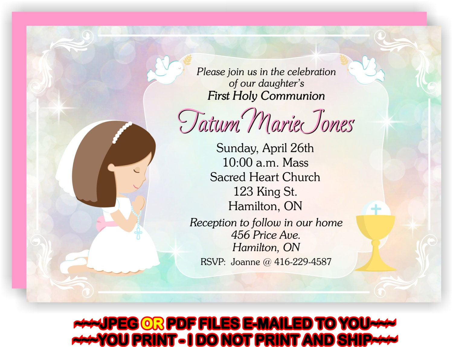 This is a picture of Hilaire Printable First Communion Invites