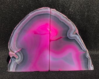 Pink Agate Crystal Druzy Geode Bookends
