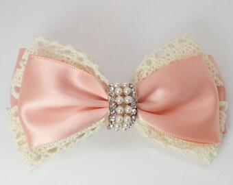 Hair bows for girls pink hair bow hair bows girls hair bows satin crochet lace hair bow girls hair clips teens hair bows satin hair bow clip