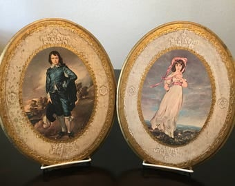Florentine Gilt Wood Wall Plaques of Pinkie and The Blue Boy/ Vintage Italian Wood Wall Plaques/ Vintage Art Prints on Gilt Wood