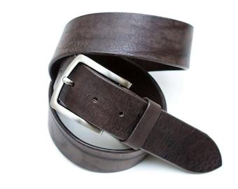 Leather Belt - Black-Brown - 4 cm - length 93
