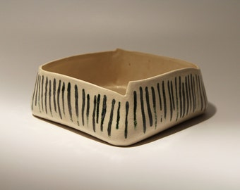 Rectangular fruit bowl - modern square Bowl - linear fruit bowl