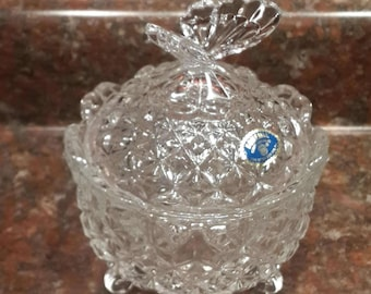 Bohemia Czech Republic Lead Crystal Butterfly trinket dish, with feet and lid.