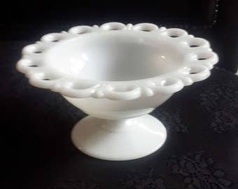 Open lace pedestal White Milk Glass candy dish