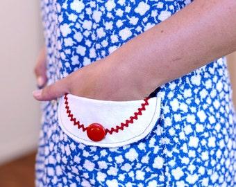 Summer dress, beach dress, made of blue and white cotton Terry cloth, Eyecatcher, size 38