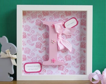 Wooden Letter Frame - First Birthday Gift - Christening Gift - Letter Frame - Baby Shower Gift - New Baby Girl Gift - Baby Girl Gift