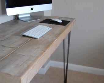 Bespoke wooden desk with hairpin legs.