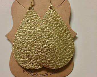 Gold Leather Statement Earrings