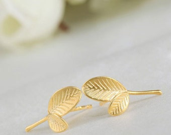 Silver Leaf 925 gold plated leaf earrings chips kind woman