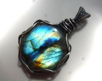 Labradorite pendant with 39mm, Labradorite, pendant - wire wrapped Sterling Silver Blue