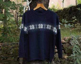 Winter Aztec Print Navy Blue Jumper - Size Large
