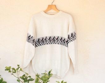 Vintage Cream Aztec Striped Norwegian Knit - Size Large