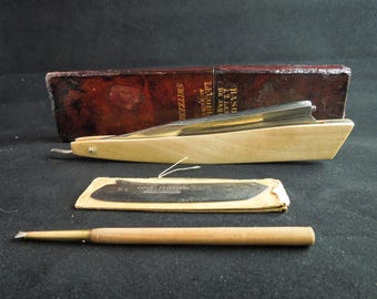 Jaques Lecoultre,  Au Sentier, Switzerland Frameback Straight Razor With Two Blades, Matching Box, Tool and Certificate of Authenticity