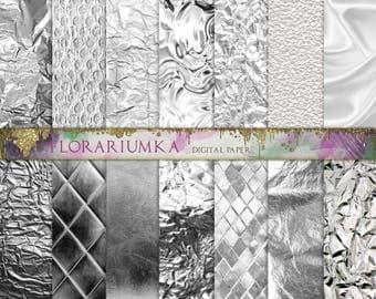 Silver Digital Scrapbook Background, Foil Digital Backgrounds Download, Crumpled Digital Texture, Pearl Scrapbook Digital Printable F193
