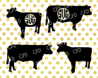 Cow Silhouette SVG, Cow Monogram Frame SVG, Cow Clipart, Cows Svg, Cows Digital Cut File, Instant Download, Svg, Dxf, Jpg, Eps, Png
