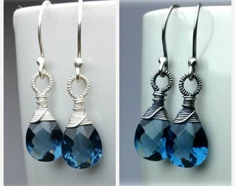 Blue Quartz Earrings, Sterling Silver Wedding Earrings, Dangle Earrings, Bridal Earrings, Gemstone Earrings, Blue Crystal Earrings, Gift Mom