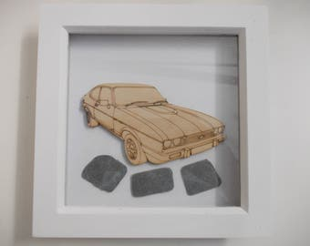 Ford Capri Picture -  Etched wood Ford Capri with Sea Slate in white wood frame
