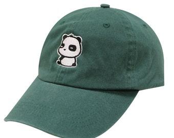 Capsule Design Cute Panda Dad Hat in Hunter Green