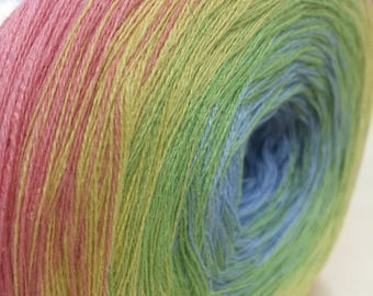 Gradient yarn / yarn / cotton and acrylic yarn / hand spun yarn / 4 thread yarn / degrade yarn /