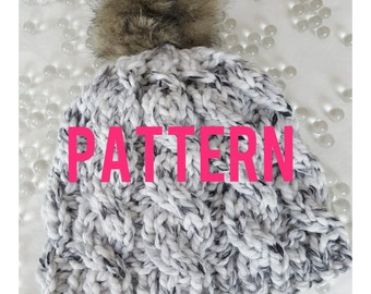 The Sydney Chunky Knit Cabled  Easy Beanie PATTERN- Instant PDF Download