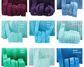 Colour Chart 4 - FOE Fold Over Elastic 5/8th Inch 16mm - per 1 Yard - Burgundy, Blue, Aqua, Plum