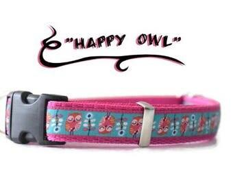 Owls dog collar, dog collar, adjustable dog collar, purple dog collar, flower dog collar, hondenhalsband, girl dog collar, medium dog collar