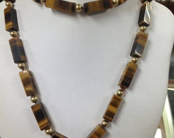 Tiger Eye Gem Stones and Gold Beads Necklace Hand Made