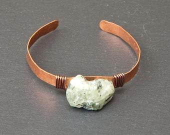 Crystal cuff, Prehnite cuff, raw prehnite, crystal bracelet, crystal jewelry, rustic crystal bracelet, prehnite bracelet, prehnite jewelry
