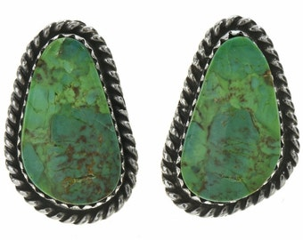 Green Turquoise Navajo Post Earrings Silver Design