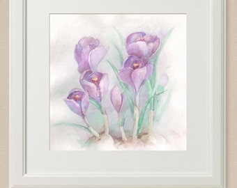 Original watercolor, crocus 20 x 20 cm