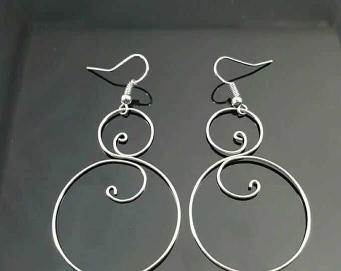 Clearance Handmade Silver Color Wire Wrapped Earrings