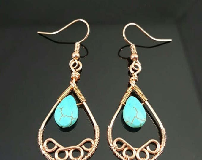 Turquoise Handmade Wire Wrapped Earrings