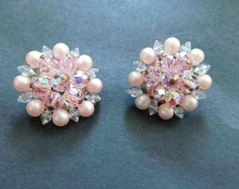Vintage Pink Pearl And Crystal Clip On Earrings