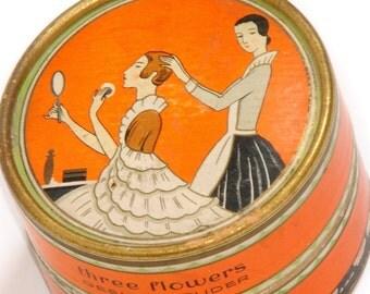RICHARD HUDNUT Berlin New York · Vintage powder box · three flowers · Powder PEACH