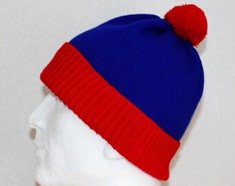 Red Royal Blue Stan South Park pompom beanie hat