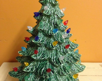Lighted Ceramic Christmas Tree with Holly Base