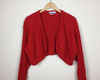 Vintage Red Cropped Cardigan One Size, Cropped Sweater