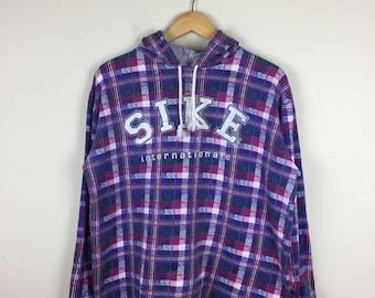 90s Plaid Shirt M, Plaid Sweater, Purple Sweatshirt, 90s Sweater Medium